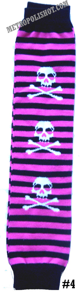 LEG WARMER LEGW -4   Pink Stripes and Skulls